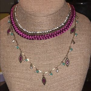 Magenta Wrapped Jeweled Collared Necklace